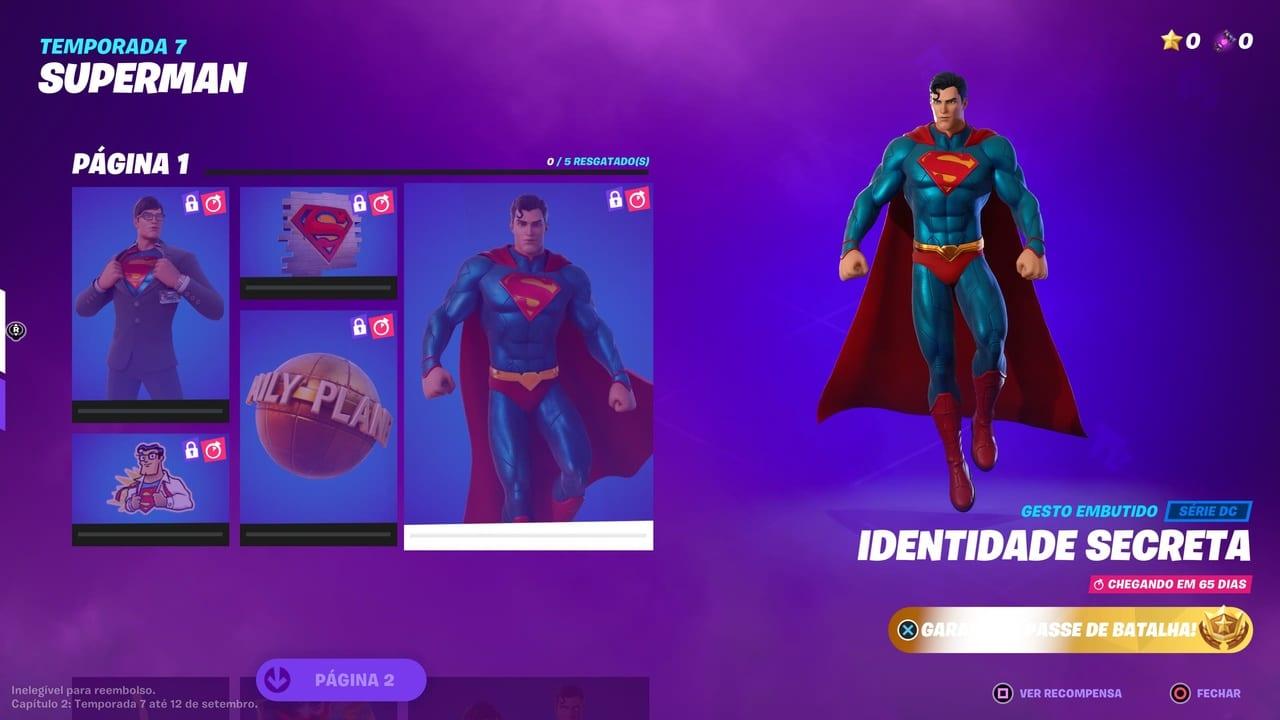 Imagem do Super-Homem em Fortnite no item identidade secreta com seu traje tradional