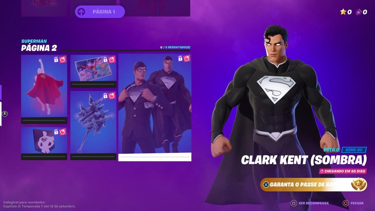 Imagem do Super-Homem em Fortnite no item Clark Kent (Sombra) com o herói em um traje preto