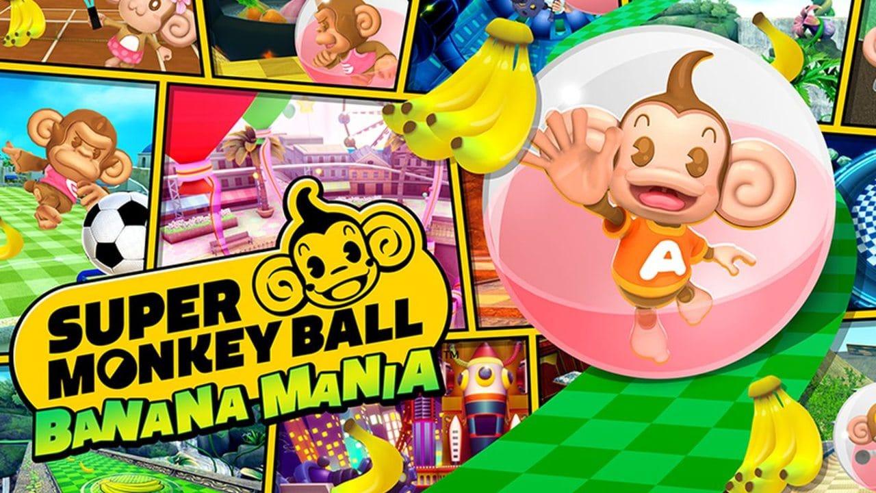 Super Monkey Ball: Banana Mania - Capa do jogo com um macaquinho dentro de uma cápsula coletando bananas pelo caminho