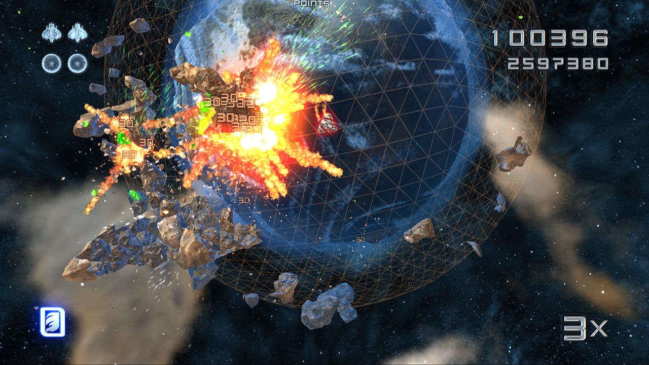 Imagem do jogo Super Stardust HD, da Housemarque