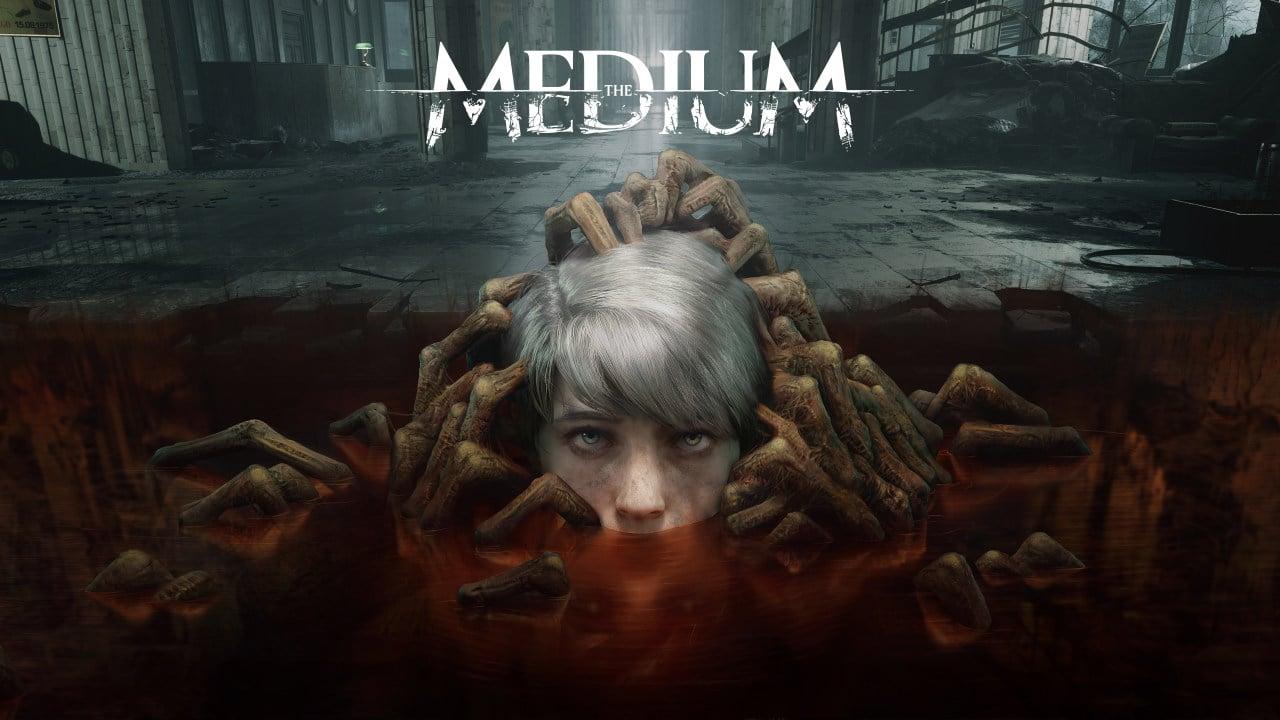Imagem de capa do jogo The Medium com um cabeça sendo puxada por diversas m]ao e a logo do game em cima