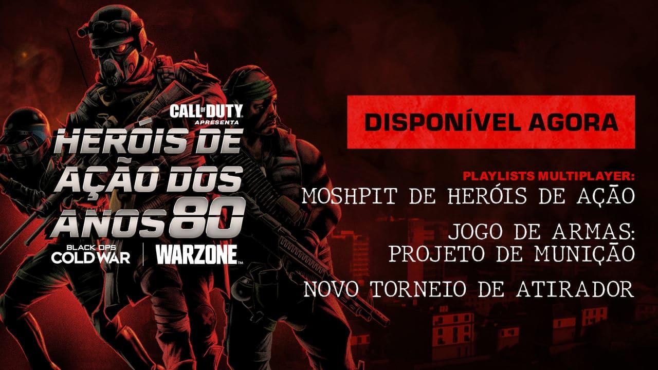 Imagem de capa do update de Warzone e Black Ops Cold War, com soldados armados no fundo e uma descrição da atualização na frente