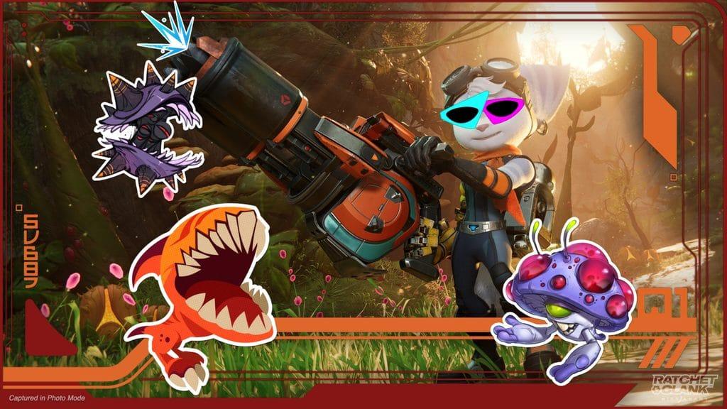 Imagem da protagonista River no modo foto de Ratchet & Clank: Em Uma Outra Dimensão segurando uma arma e com adesivos em sua volta