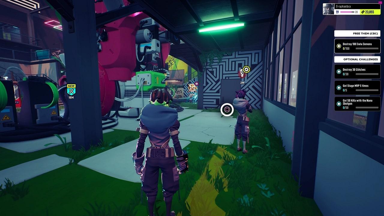 Cenário colorido com um personagem de costas encarando outro