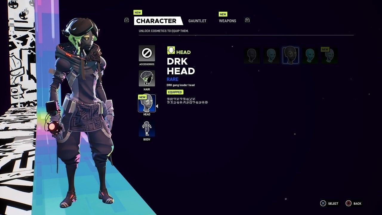 Imagem com personagem na esquerda e opções de customização do lado direito