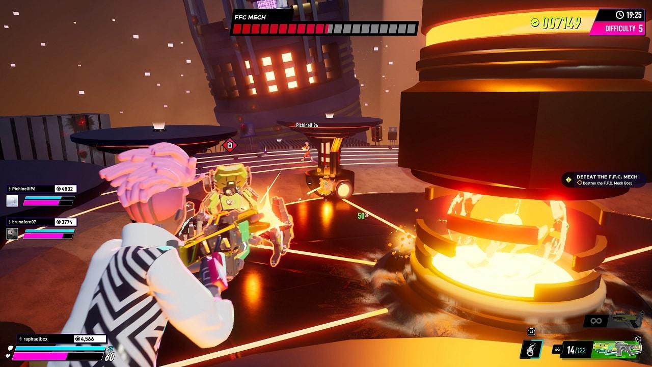 Imagem colorida do jogo Arcadegeddon com um personagem segurando uma pistola mirando em um robô grande