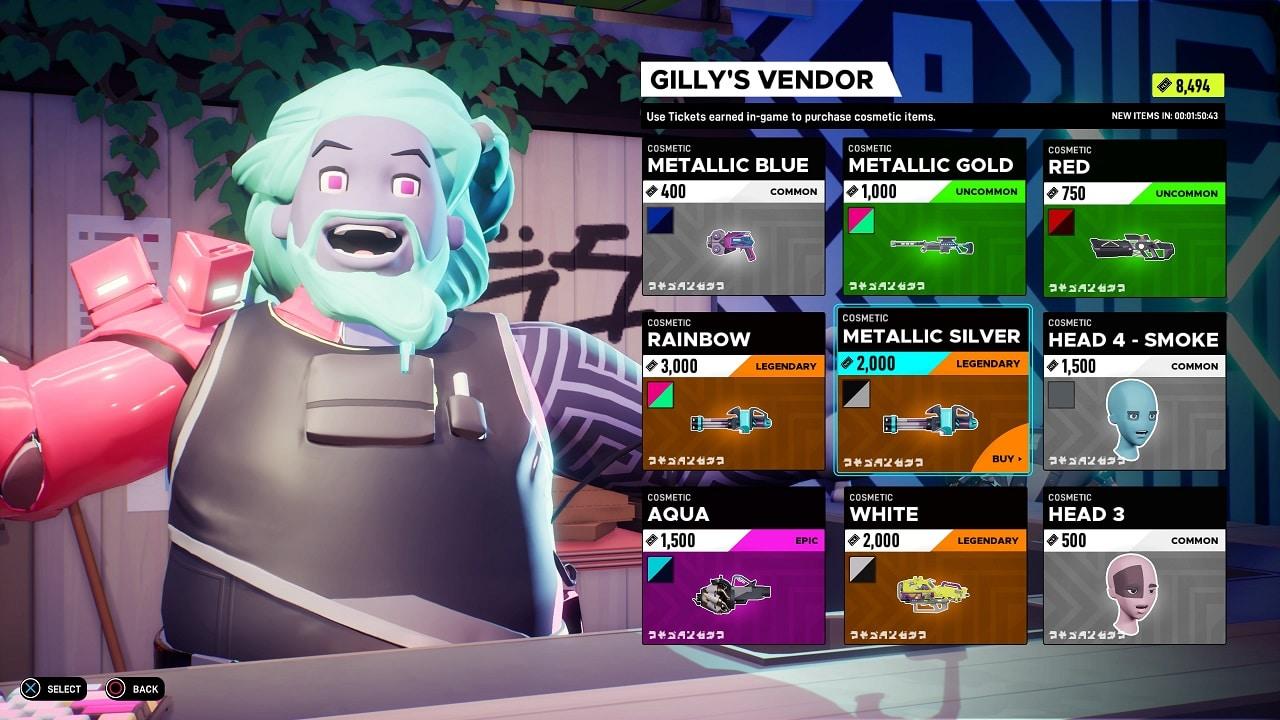 Personagem sorrindo com o cabelo azul e com tela de vários itens para ser comercializado