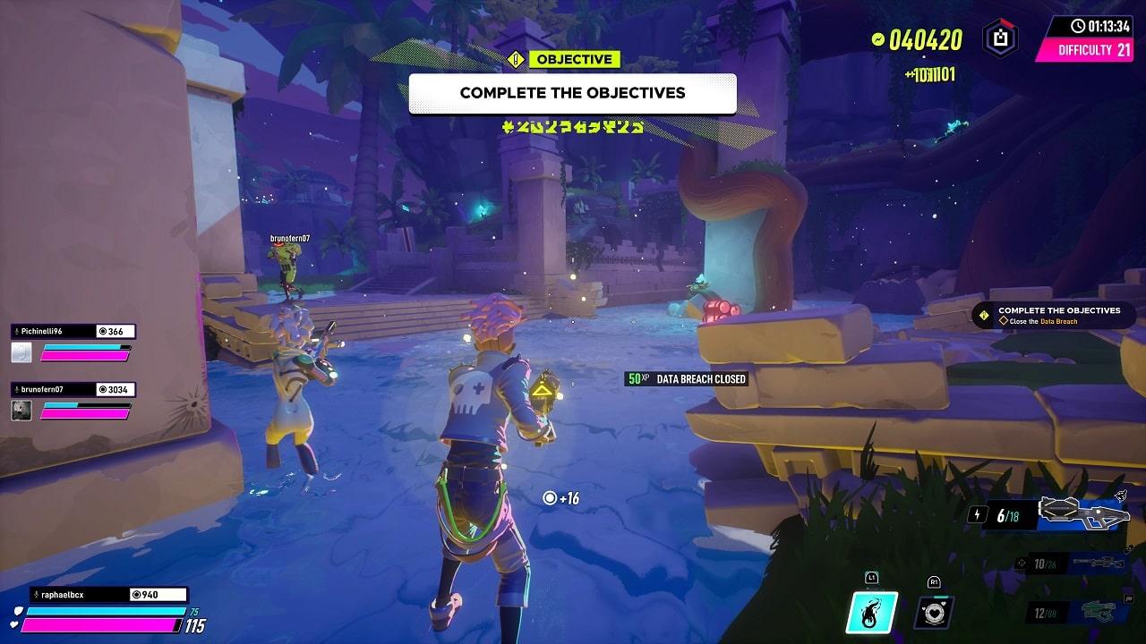 Cenário com personagens coloridos em um ambiente selvagem