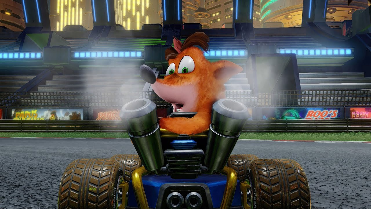 Crash em um kart, em Crash Team Racing Nitro-Fueled