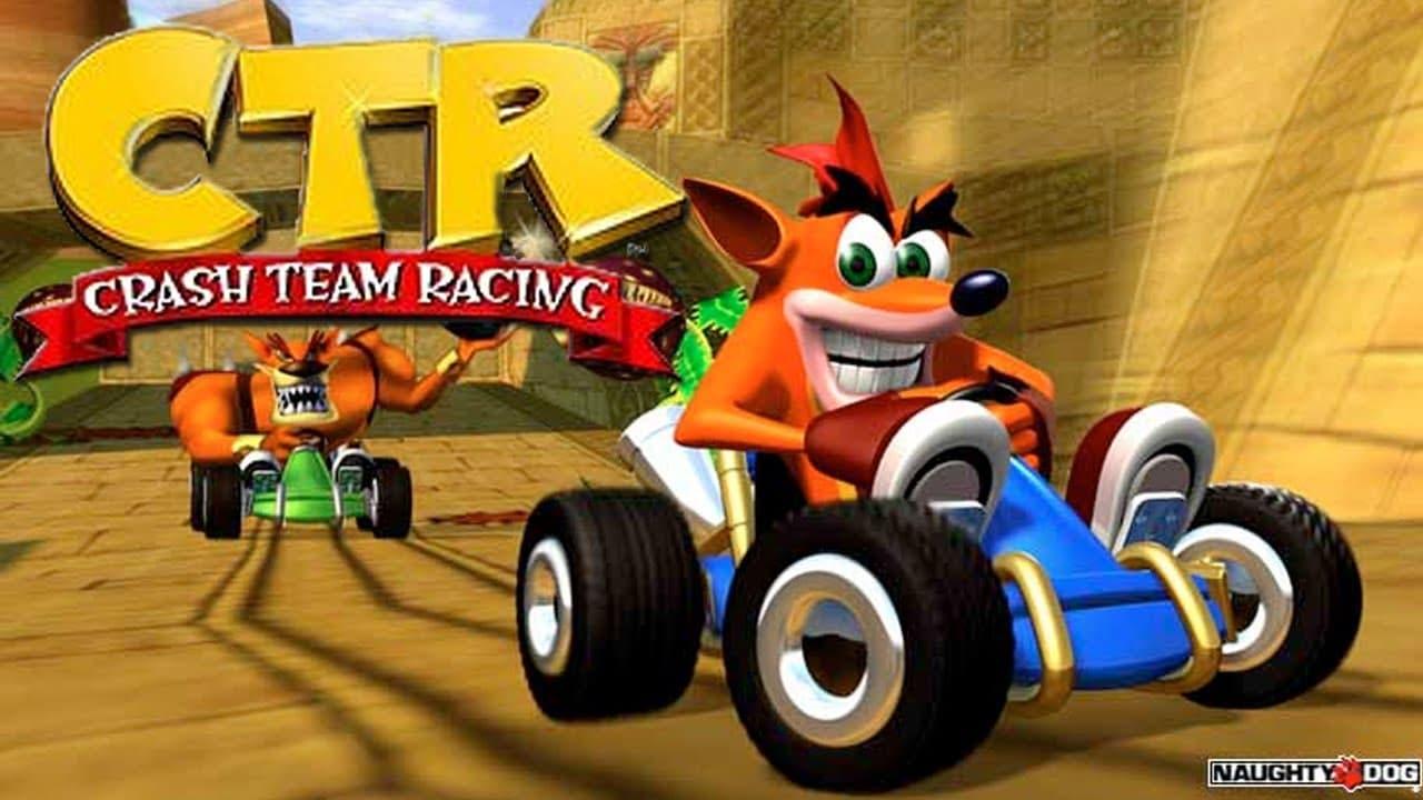Crash e Tiny Tiger correndo em karts em Crash Team Racing
