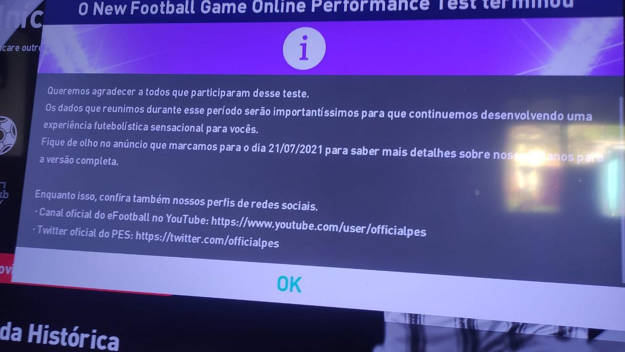 Imagem da tela de um TV com a mensagem do Evento de PES 2022 marcado para 21 de julho