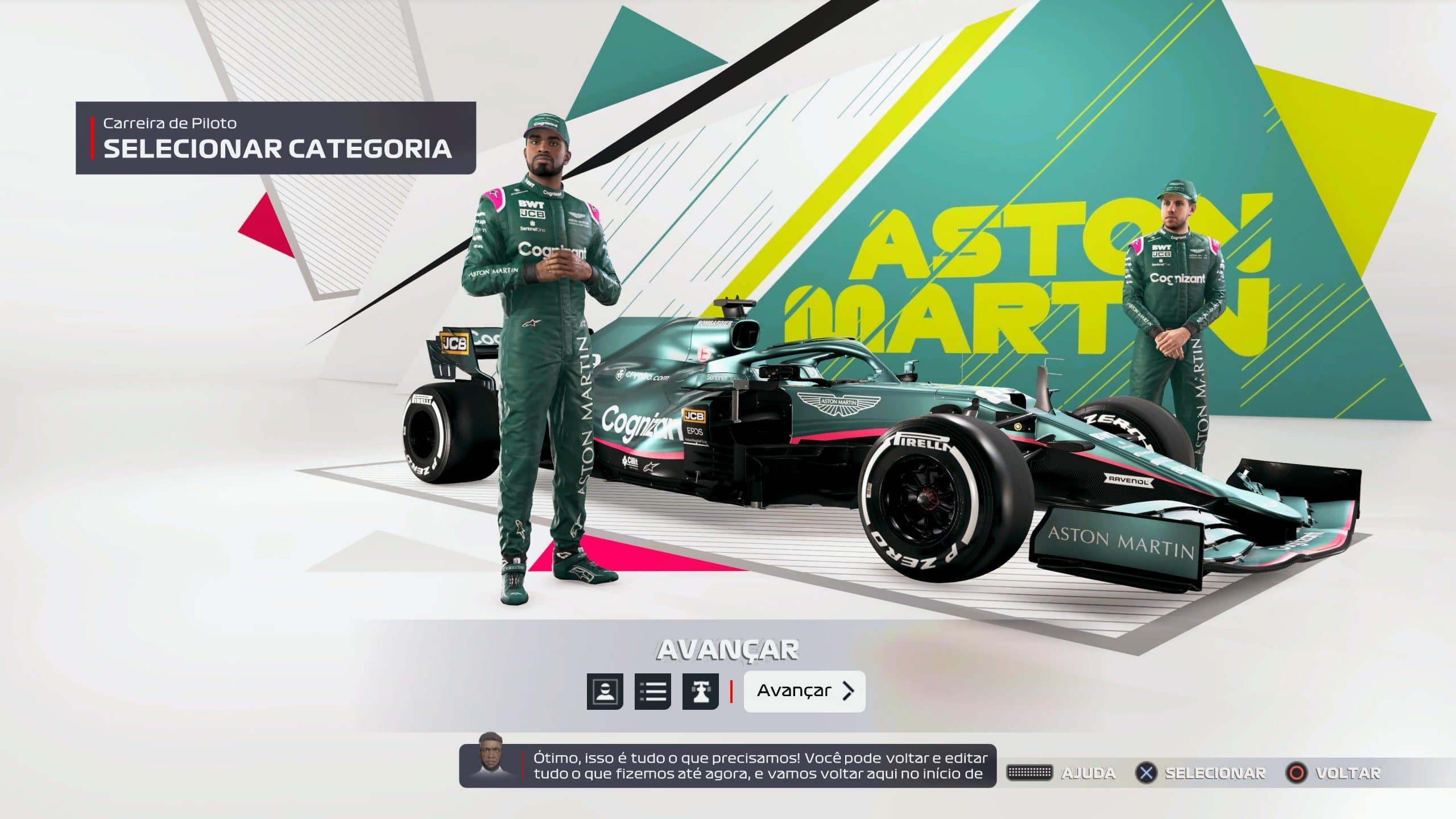 Jogador cria seu piloto em F1 2021 (Foto: Reprodução/Thiago Barros)