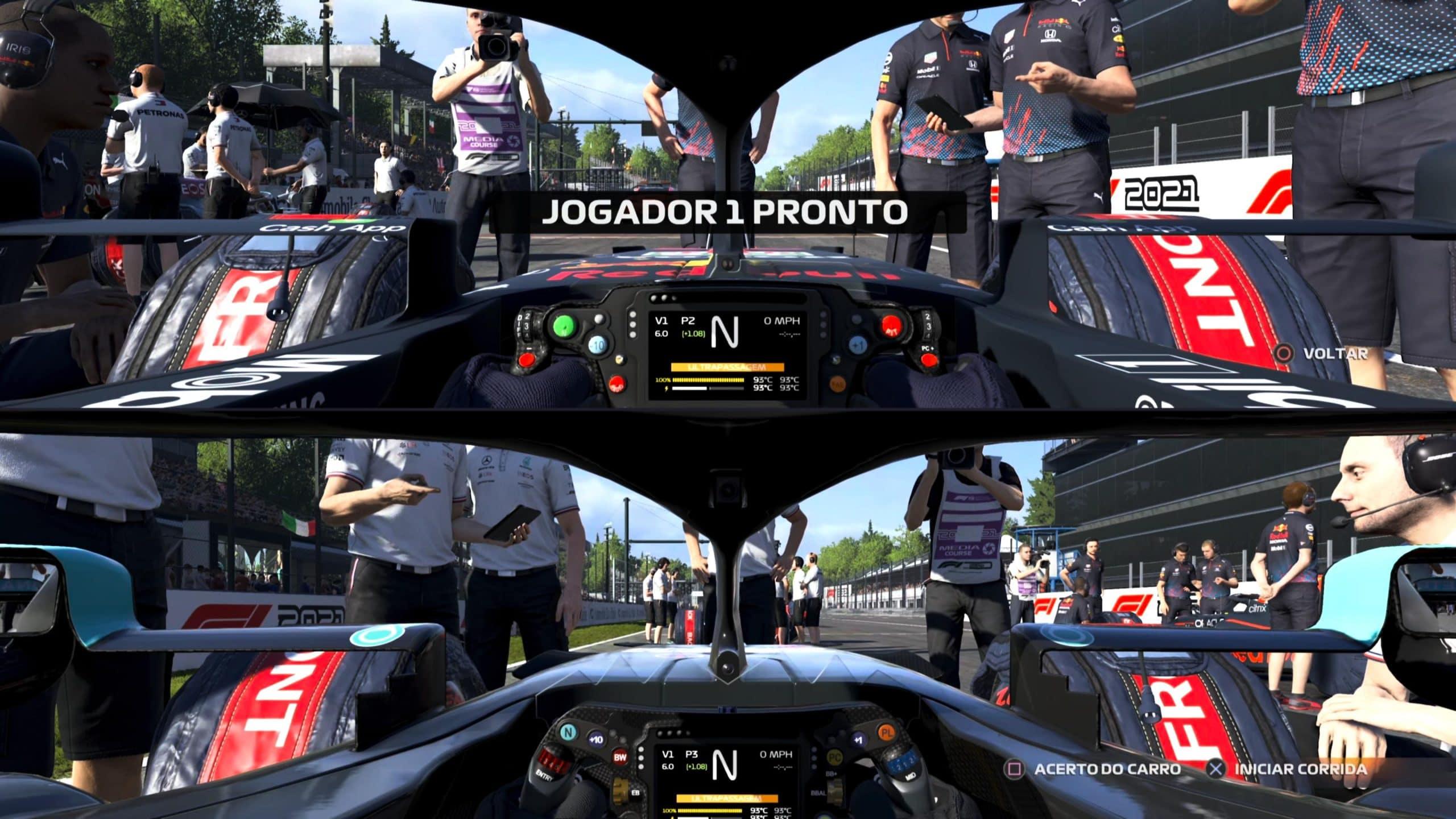 Tela dividida é bem divertida em F1 2021 (Foto: Reprodução/Thiago Barros)