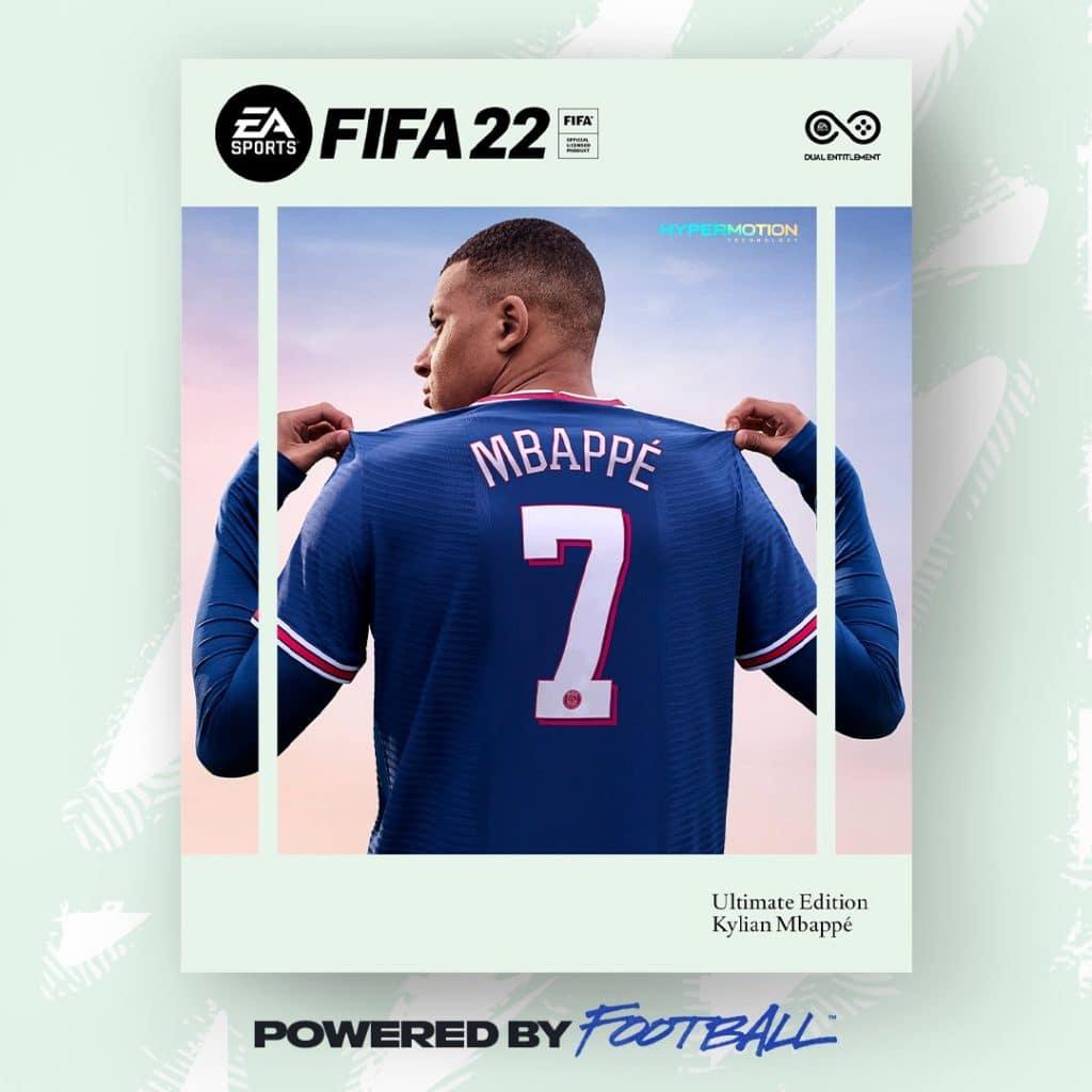 Capa de FIFA 22, que terá Kylian Mbappé