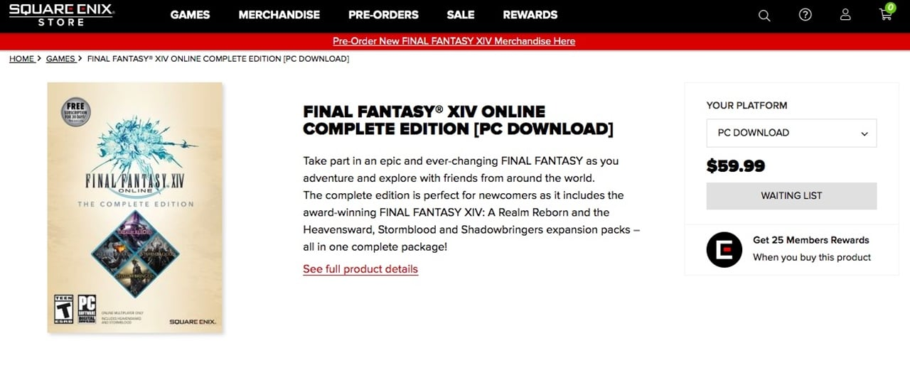Lista de espera para adquirir Final Fantasy XIV.