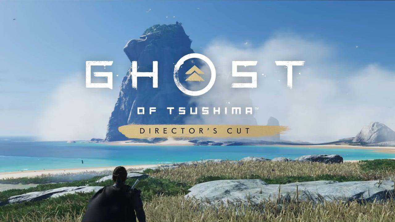 Imagem de capa da matéria sobre Pré-load de Ghost of Tsushima Director's Cut com a capa do jogo em destaque com o protagonista olhando o horizonte e um mar ao fundo, com a logo do game em destaque