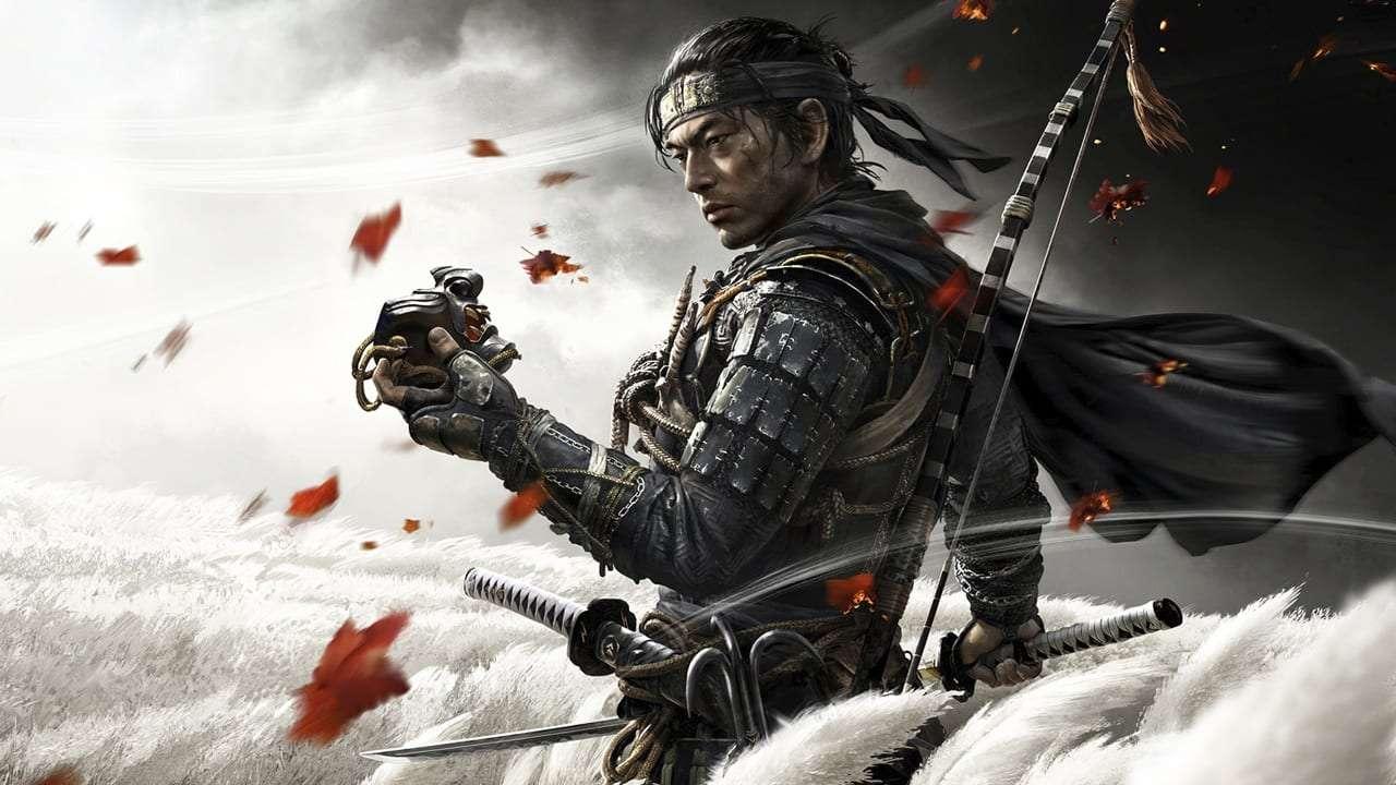 Imagem de capa do jogo Ghost of Tsushima com o protagonista Jin Sakai em destaque