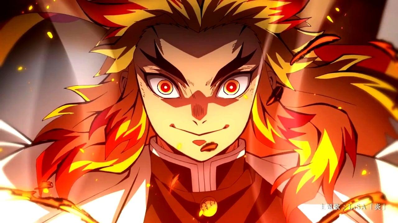 Kyojuro, hashira do fogo no jogo de Demon Slayer.