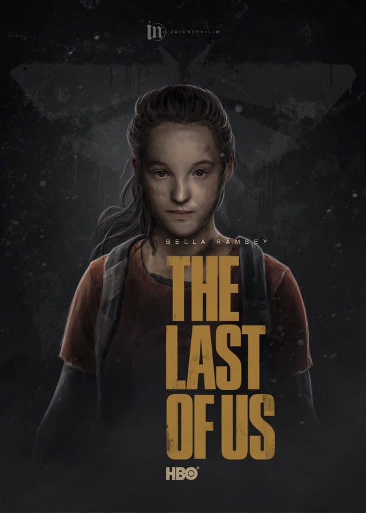 Imagem da atriz Bella Ramsey como Ellie em um poster feito por fã da série de The Last of Us