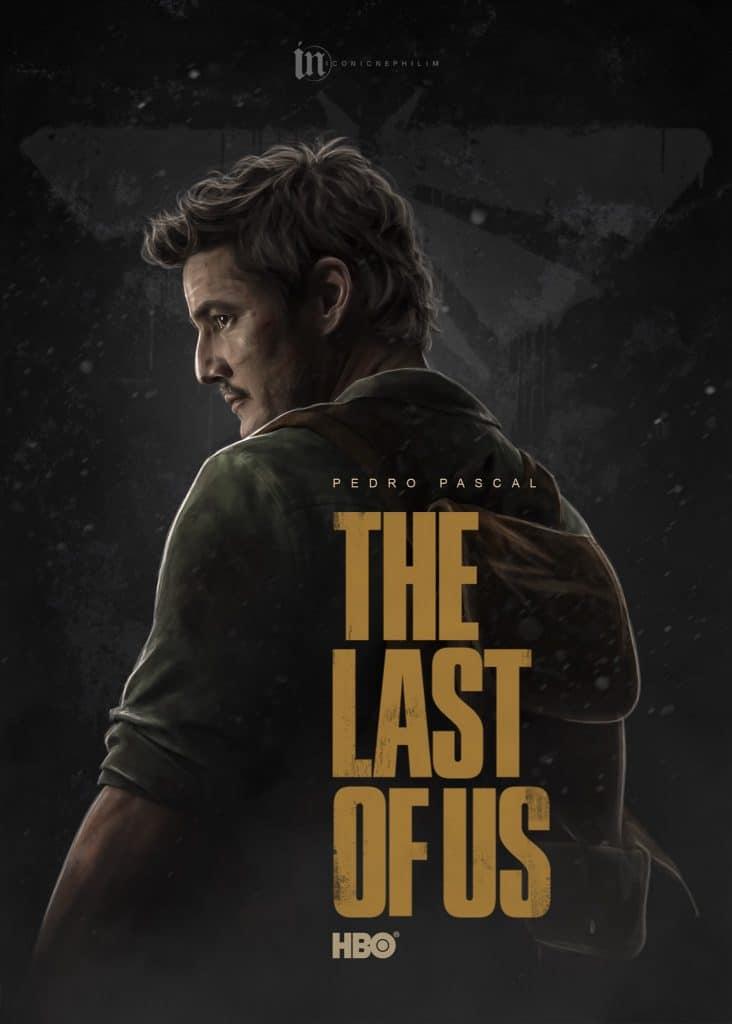 Imagem do ator Pedro Pascal como Joel em um poster feito por fã da série de The Last of Us