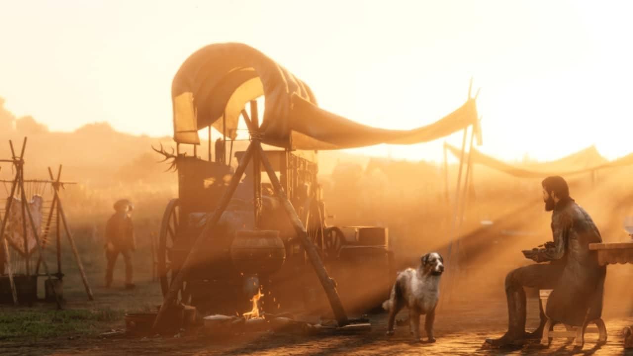Red Dead Online - Acampamento com cachorro tendas e um jogador