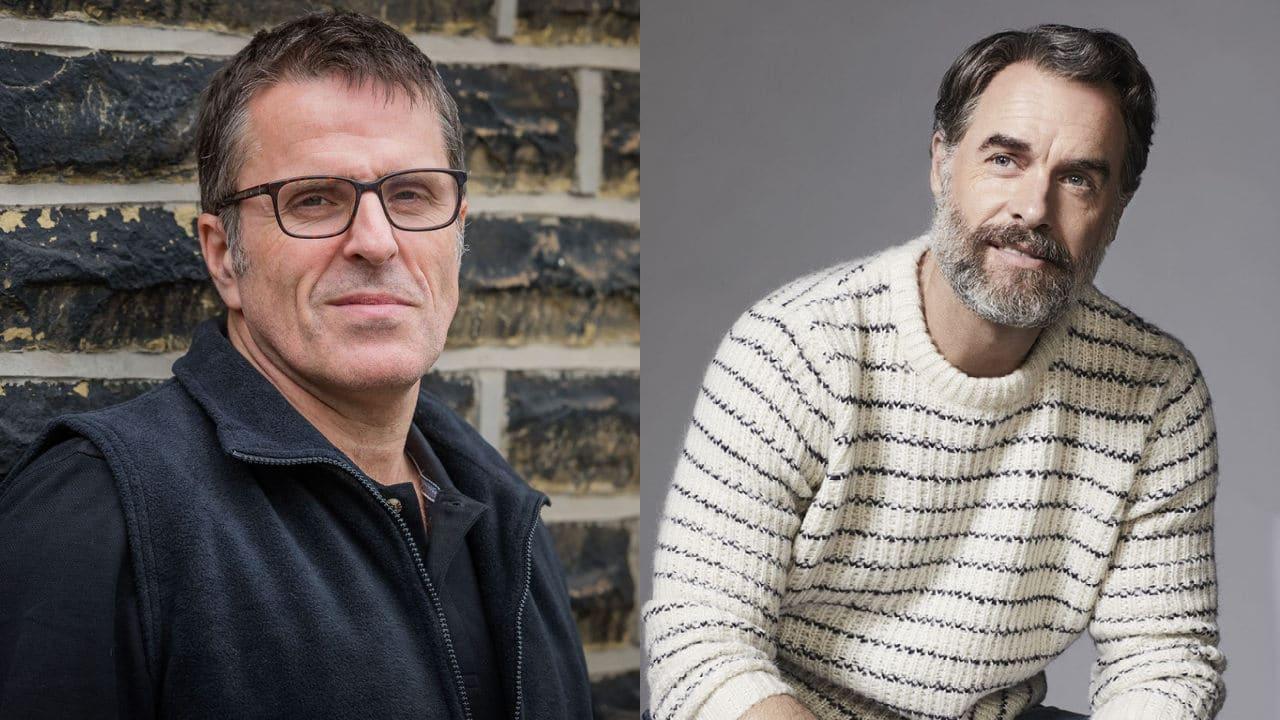 Imagem dos atores de Bill e Frank na série de The Last of Us