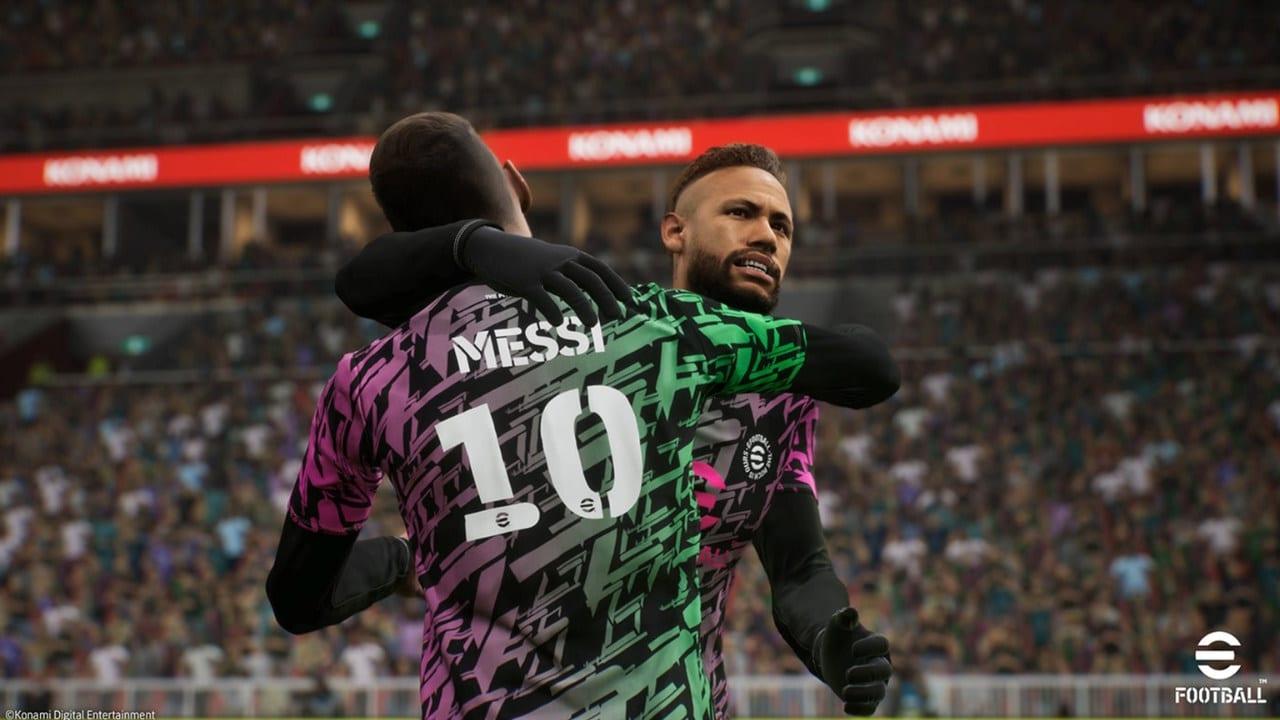 Imagem do jogo eFootball com o jogador Neymar abraçando o argentino Lionel Messi