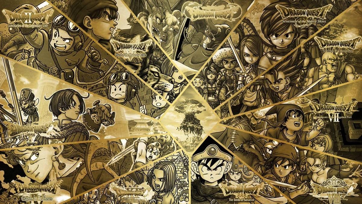 Imagens com os jogos da série Dragon Quest.