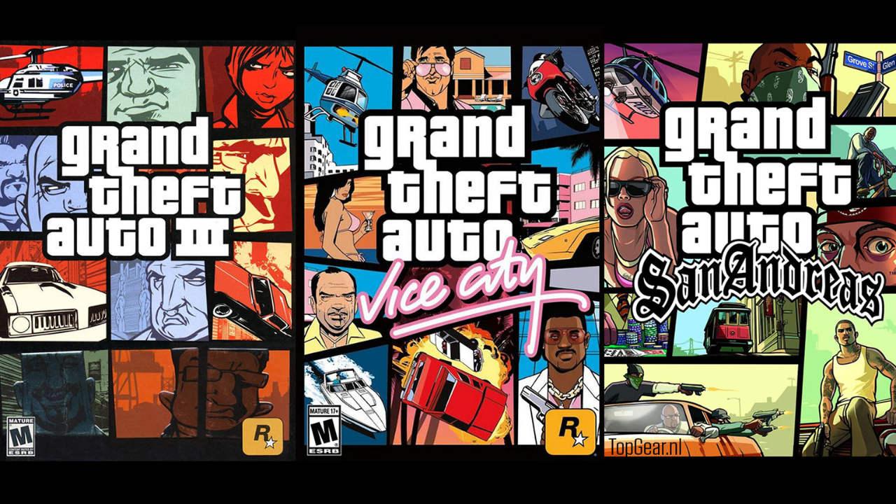 Imagem de capa dos jogos da Trilogia remasterizada de GTA