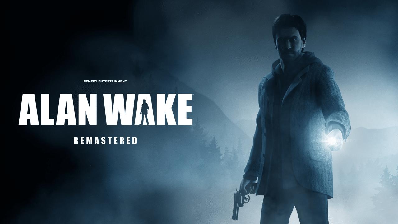 Imagem de capa do jogo Alan Wake Remastered com o protagonista segurando uma lanterna