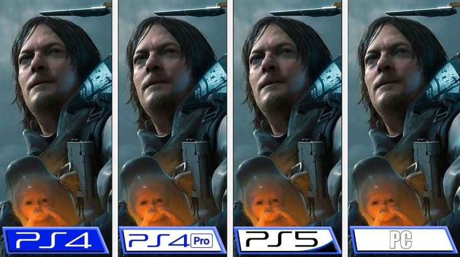 Compare Death Stranding rodando no PS4, PS4 Pro, PS5 e PC