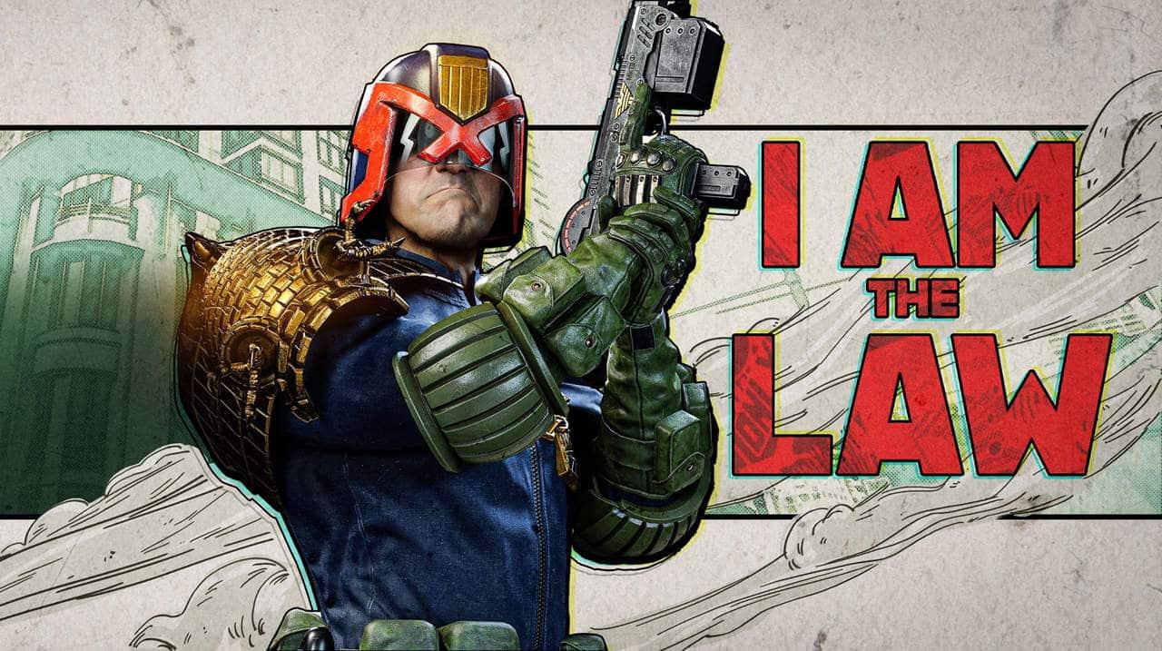 Imagem de capa de Judge Dredd em Warzone com o personagem segurando uma arma