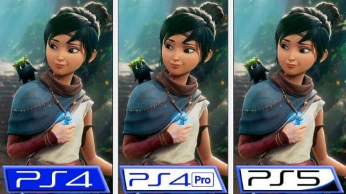 Compare como Kena: Bridge of Spirits está rodando no PS4, PS4 Pro e PS5