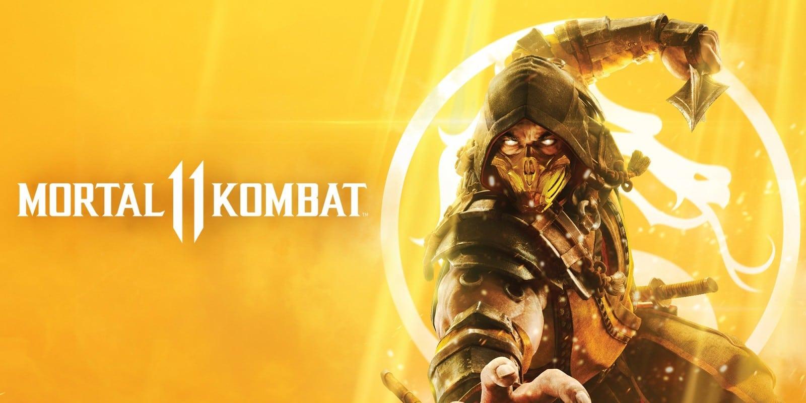 Scorpion e o logo de Mortal Kombat 11