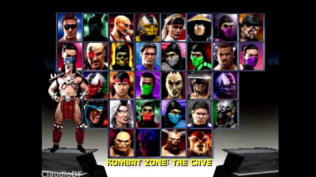 Tela de seleção de personagens em Mortal Kombat Trilogy