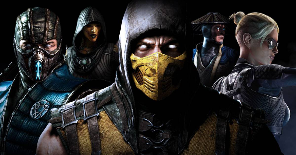 Scorpion, Sub-Zero, Cassie Cage, D'Vorah e Raiden em Mortal Kombat X
