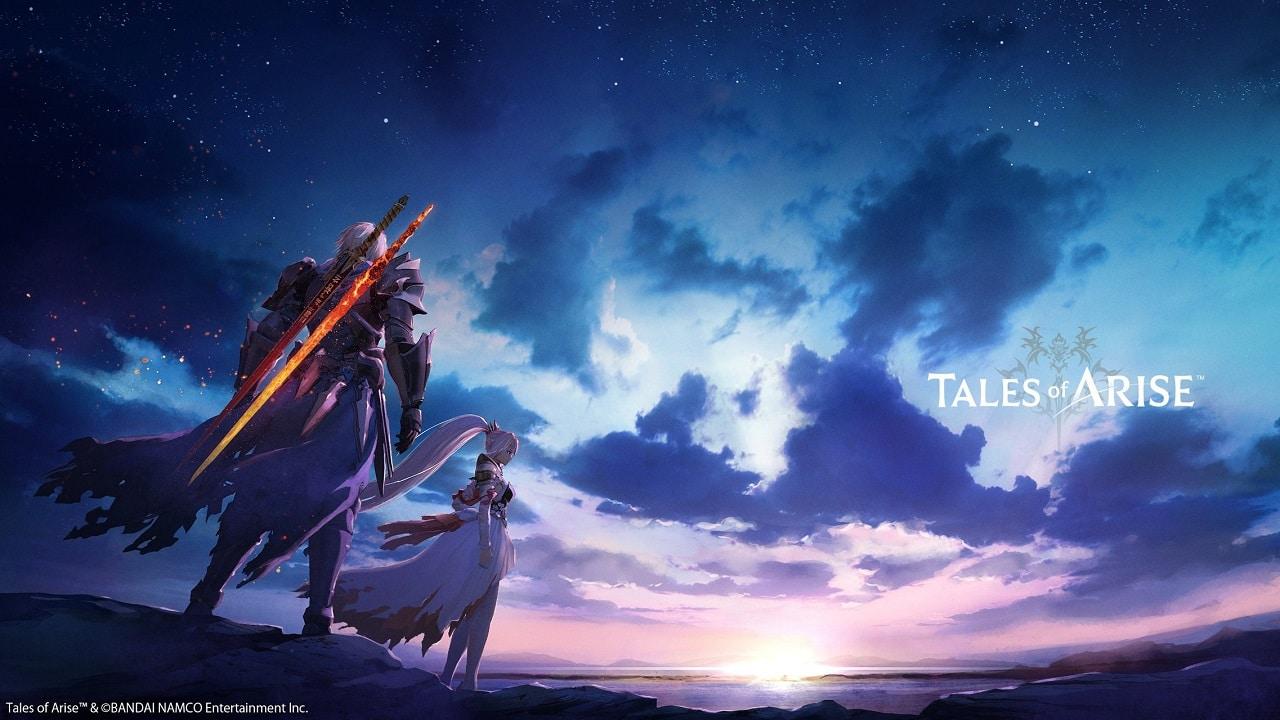 Imagem do jogo Tales of Arise com personagens de costas carregando uma espada