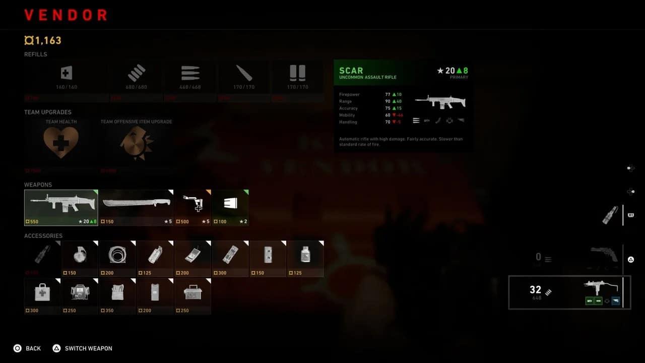 Back 4 Blood - munições tela com armas