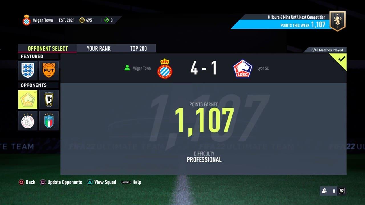 Tela de FIFA 22 no modo Squad Battles