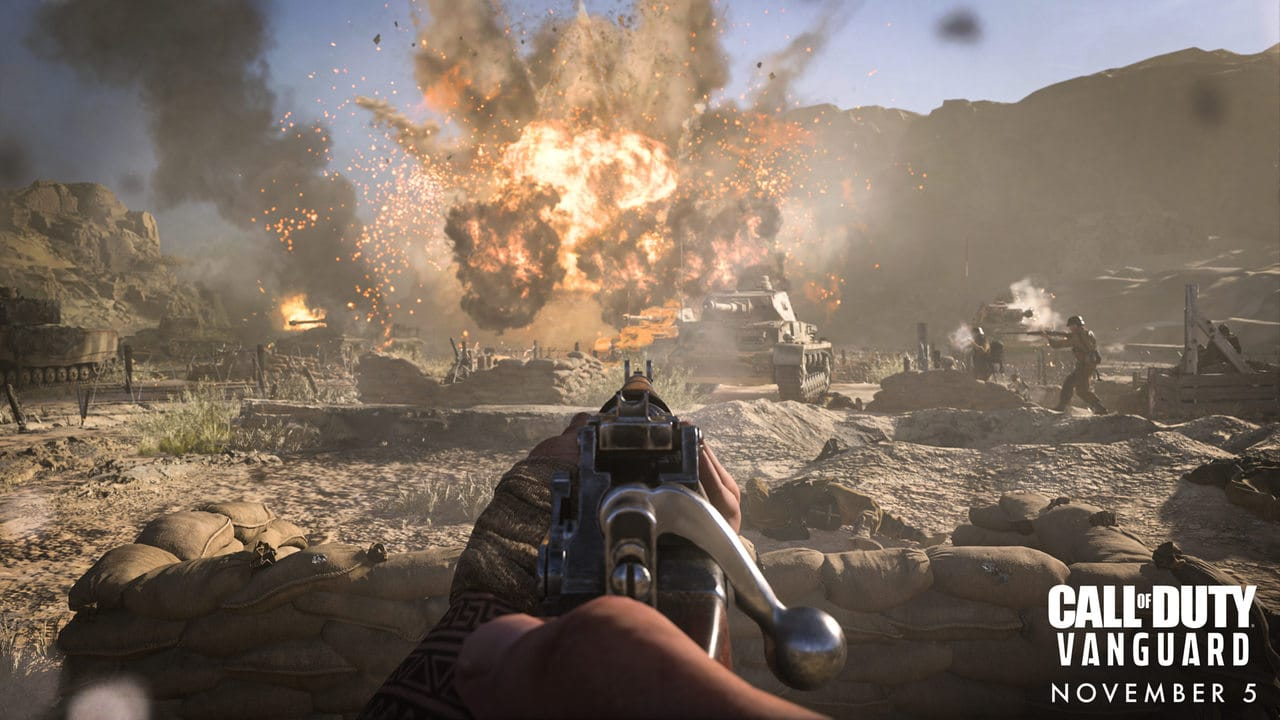 Imagem de capa do artigo do Novo sistema anti-cheat de Call of Duty com uma captura de Call of Duty: Vanguard de uma arma apontada para um cenário com explosão